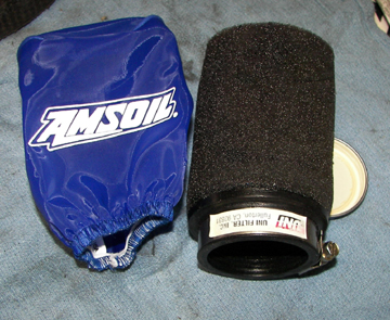 Pod filter used on Motoguzzi eldorado featuring Amsoil Pre-Filter
